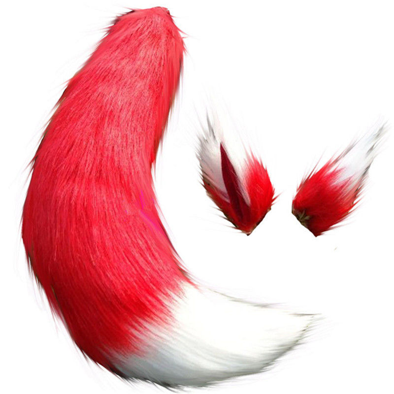 Japanese Holo Fox Ears Tail Cosplay Props Custome Long Plush Anime Gift Handmade