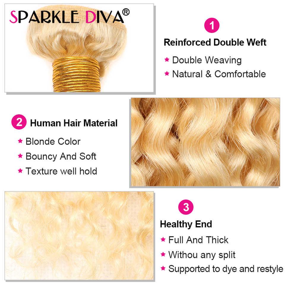Extensiones de cabello humano 613 rizado, extensiones de pelo ondulado brasileño, 30 extensiones de cabello humano Rubio de 32 pulgadas, extensiones de cabello humano