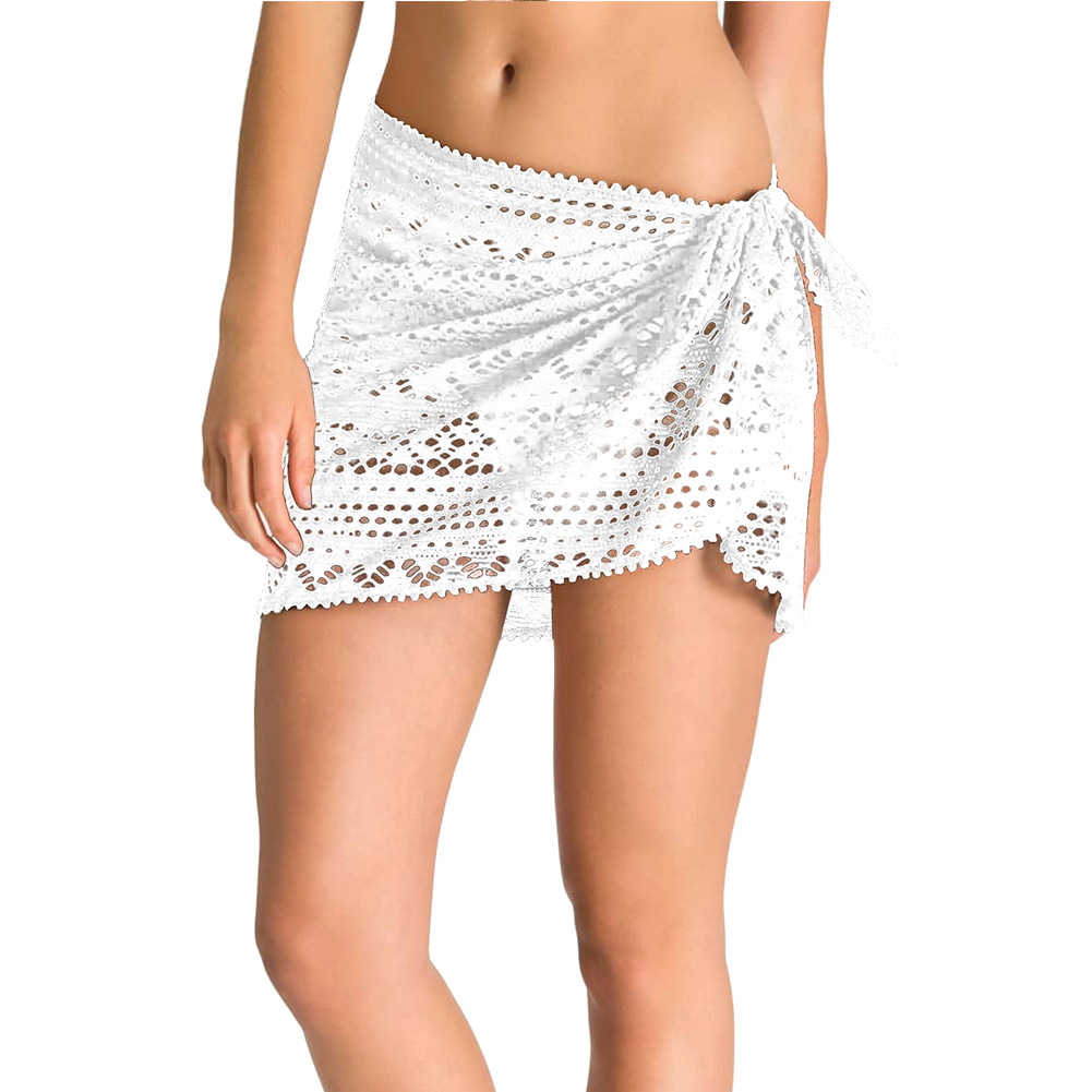 Beach Vacation Style White Fashion Crochet Apron Europe And America New Style Short Mini Skirt 420131