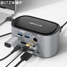 BlitzWolf BW-TH12 14-em-1 USB Hub Docking Station com M.2 SATA 3.0 NGFF SSD Enclosure HD 4K/60HZ Triple Display USB 3.0 1000Mb/s RJ45 HDMI compatível com PC Windows MacOS USB-C Hub Docking Station