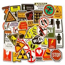 50шт опасности, запрещающие предупреждающие знаки водонепроницаемый игрушки наклейки для DIY телефон ноутбук камера автомобиля велосипед Мото скейтборд наклейки декор