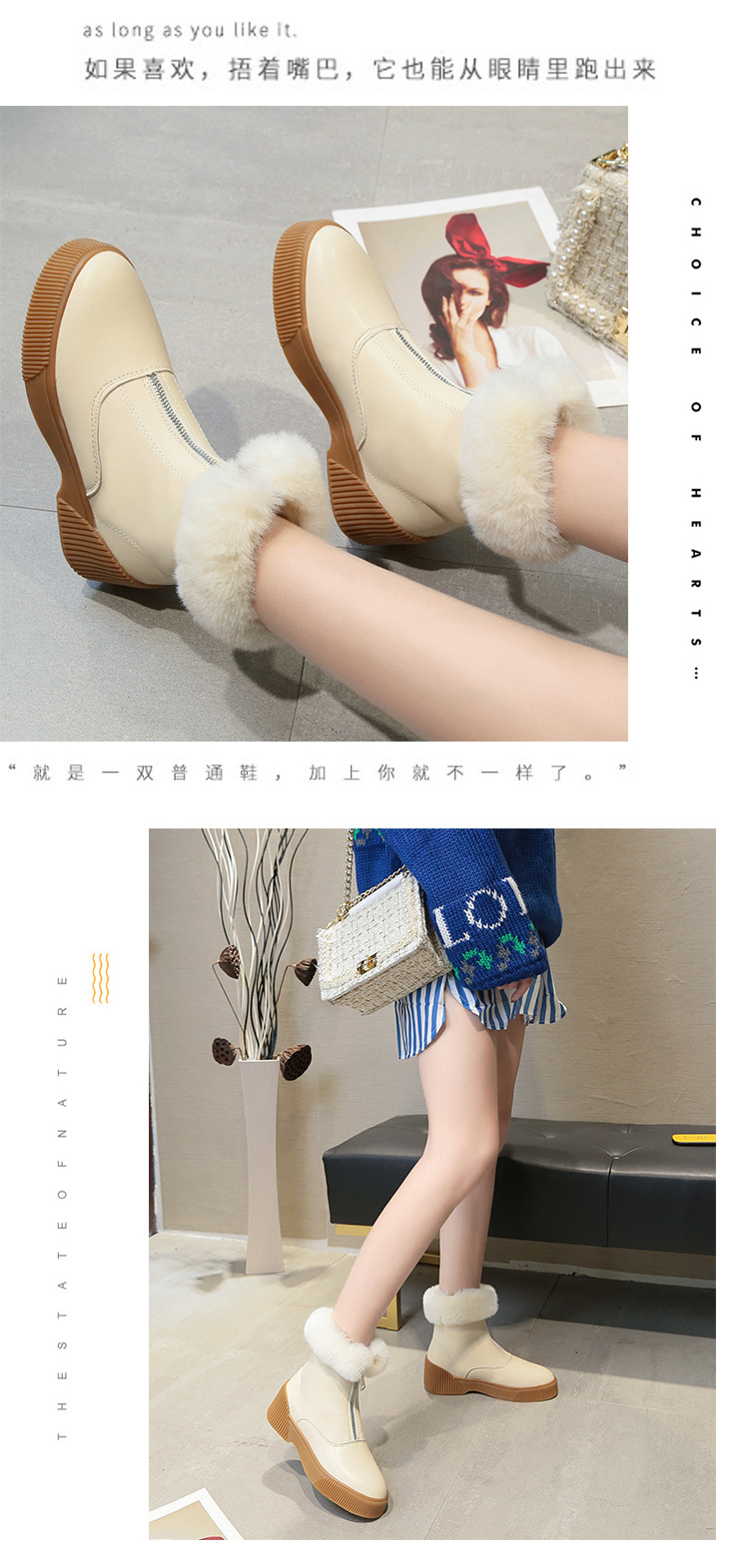 Women Short Ankle Boots Winter Plush Warm Thick Bottom Platform Round Toe Students Leisure Flat Ankle Snow Boots Botas Mujer 41