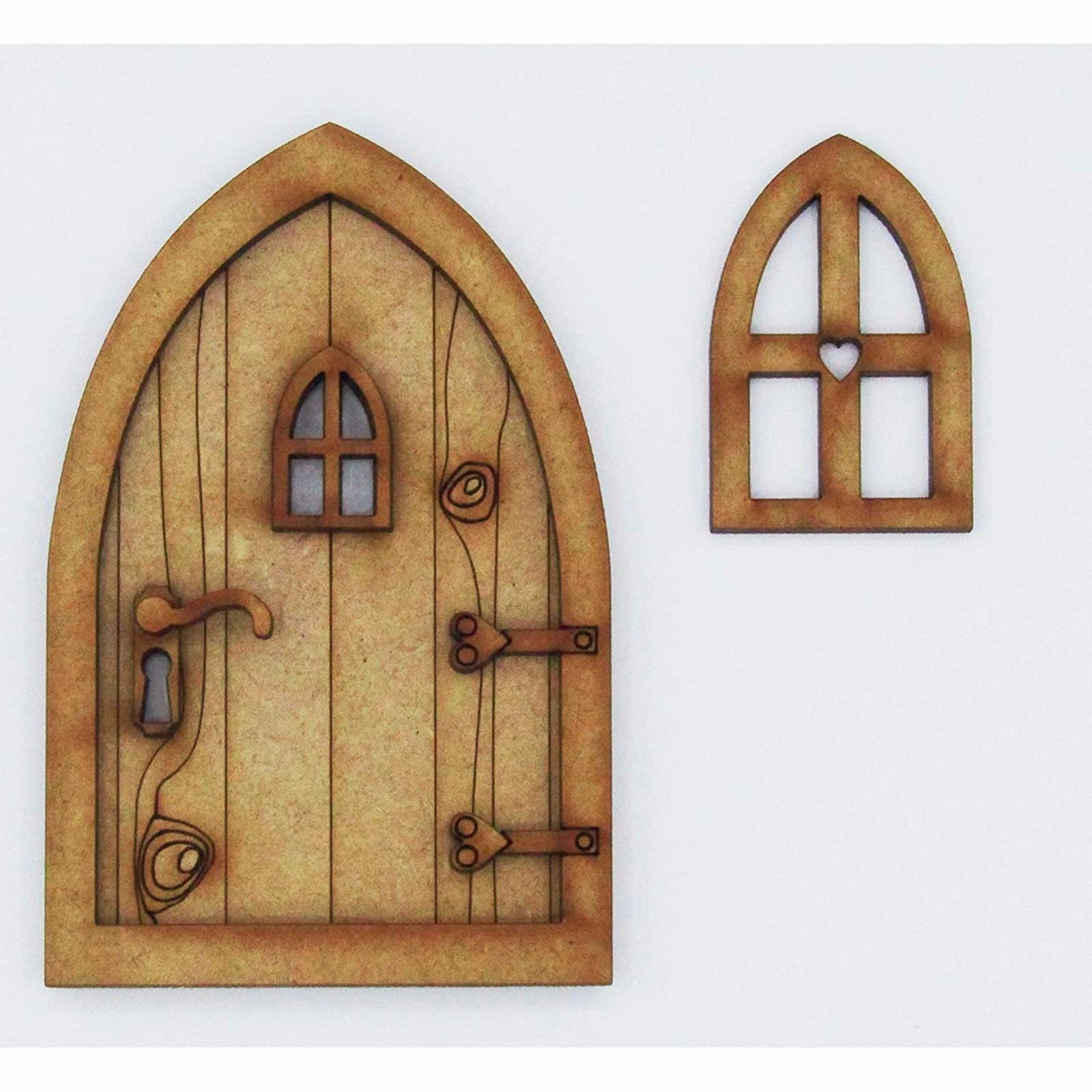 Набор для творчества с деревянной дверью сказочного эльфа, Рождественское украшение для двери, винтажное миниатюрное украшение для сказоч...
