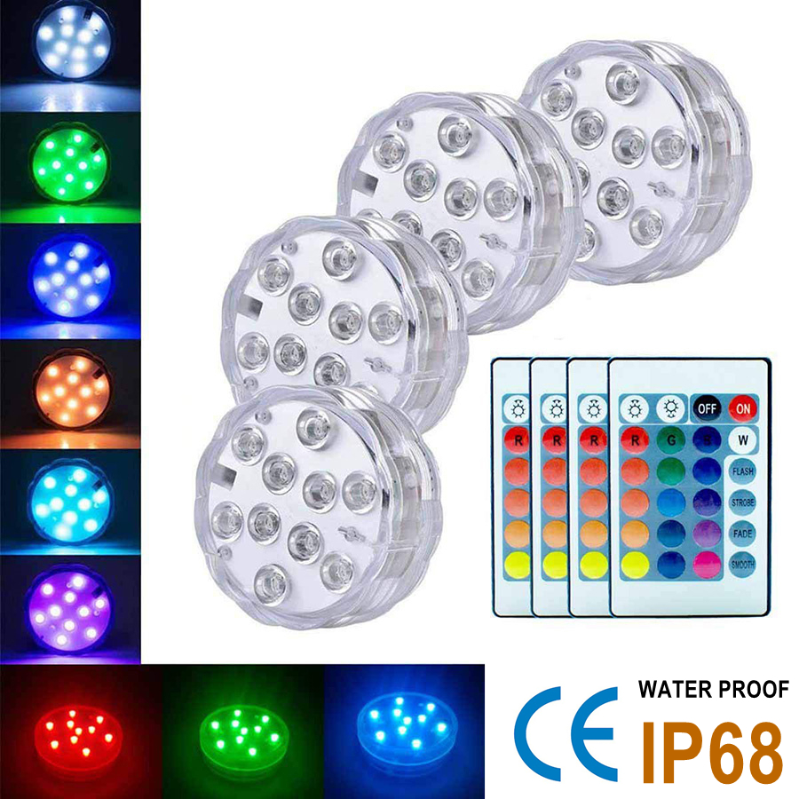 10 Leds Submersible Light with16 RGB Colors for Outdoor Pond Fountain Vase Garden Swimming Underwater Pool Lamp Remote Control