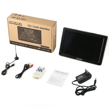 LESHP Portable D12-ATSC Multimedia Player LCD Display with Digital TV Tuner 12.1 inch Monitor LED Panel Driver HD USB/TF