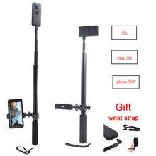 Alüminyum direk süper uzun Selfie sopa telefon tutucu smartphone için/Insta360 One X aksesuarları EVO 360 kamera 360