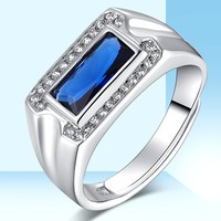 S925 sterling silver jewelry blue crystal ring men's live blue gemstone jewelry ring free shipping