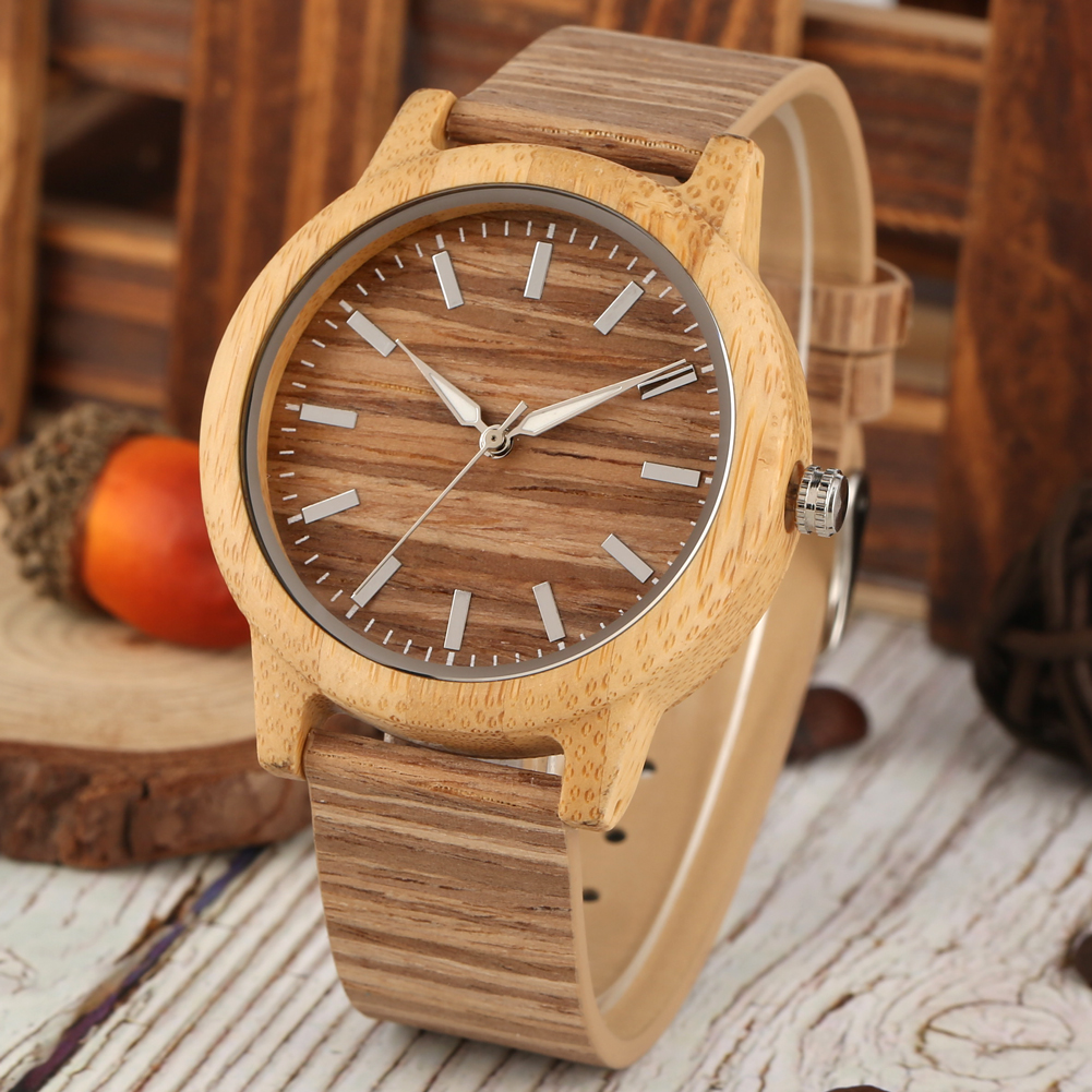 Creative Wood Watch Men Women Lover Clock Couple Wristwatch Wooded Watches Classic Brown Dial With Luminous Pointers Reloj