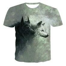 Los amantes de Lobo estampado T camisas hombres camisetas de la nave de la gota 3d Tee Top manga corta Camiseta cuello redondo C