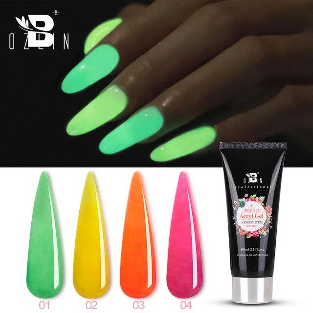 Bozlin 60 ml Glow In The Dark Poly Gel 4 Farben Tränken Weg Vom LED UV Gel Nagellack Funktion Verlängerung builder Gel Lack Lack