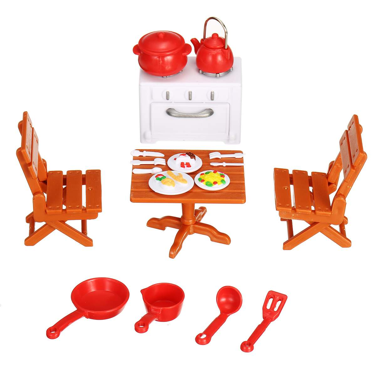 18pcs/set Simulation Doll House Mini Furniture Accessories Miniature Kitchen Furniture(table/cabinet/chair) Kids Toy Gifts