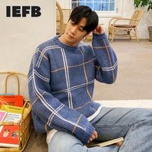 Neck-Sweater IEFB Korean Kintwear Bottoming Blue Vintage Thick Men Winter Big-Size Round