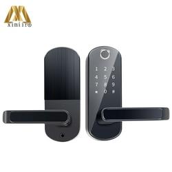 Linii papilarnych inteligentny zamek z Wifi APP wodoodporny przycisk dotykowy klawiatura elektroniczny zamek do drzwi XM S7 pilot zdalnego sterowania blokada bezpieczeństwa domu|Zamki elektryczne|   -