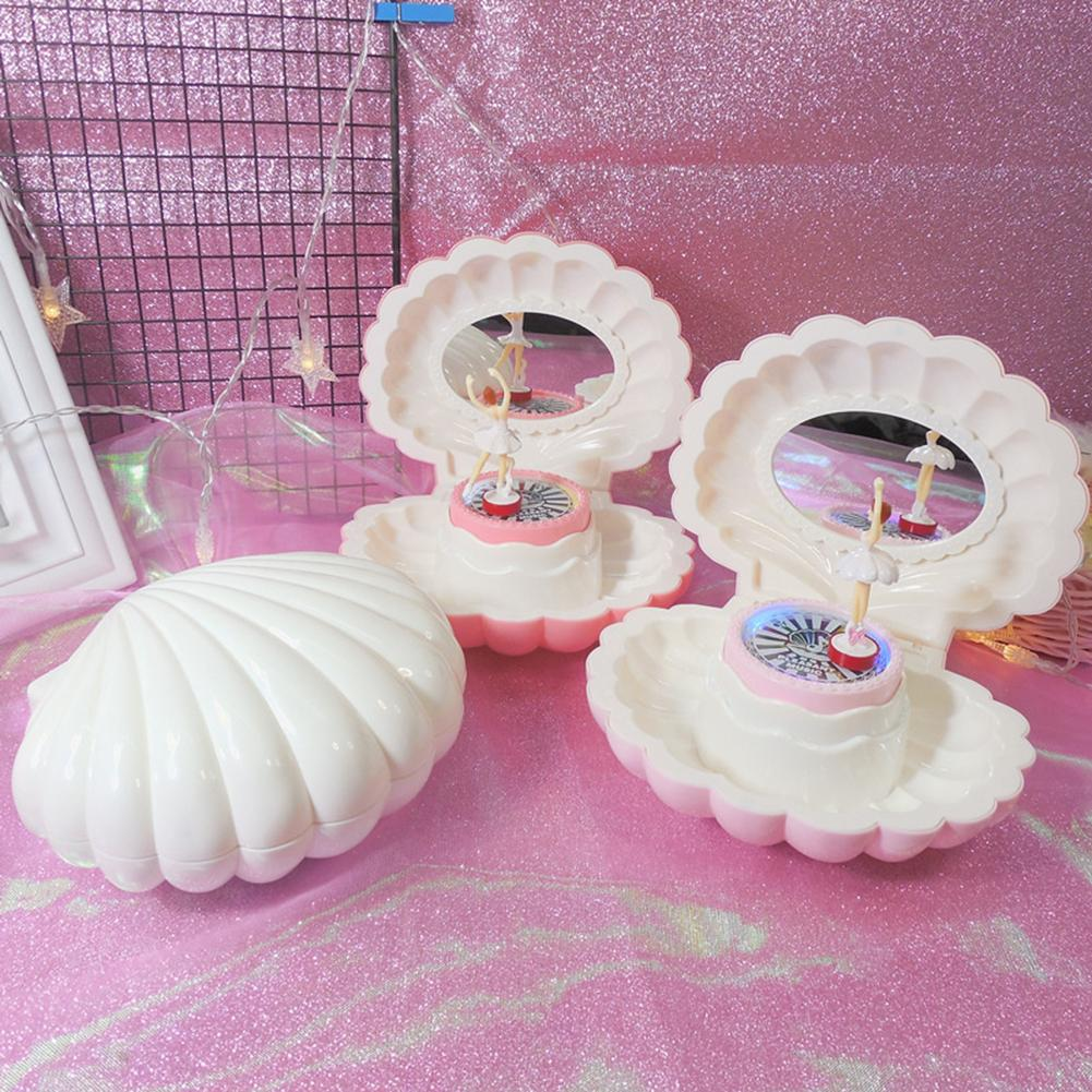 Shell Shaped Rotating Girl LED Flashing Music Box Musical Toy Kids Xmas Gift Geometric Music Baby Room Decoration Gifts Christma