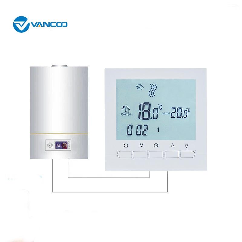 Vancoo Gas Boiler Heating Temperature Regulator Hand Control AA Battery Programmable Heating Radiator Thermostat With Kid Lock