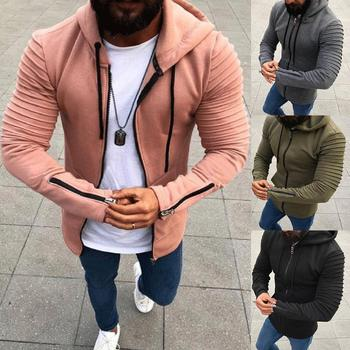 Plus Size Coat Men Jackets Hoodies Autumn Pleated Long Sleeve Coats Drawstring Hooded Coat cardigan Zipper Men's Coats Jacket фото