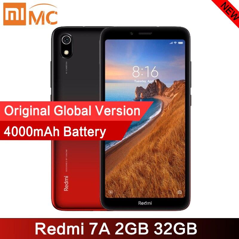 """Оригинальный Смартфон Xiaomi Redmi 7A 2GB 32GB 5,45 """"HD дисплей Snapdargon 439 Восьмиядерный 4000mAh 12MP AI Face разблокированный мобильный телефон"""