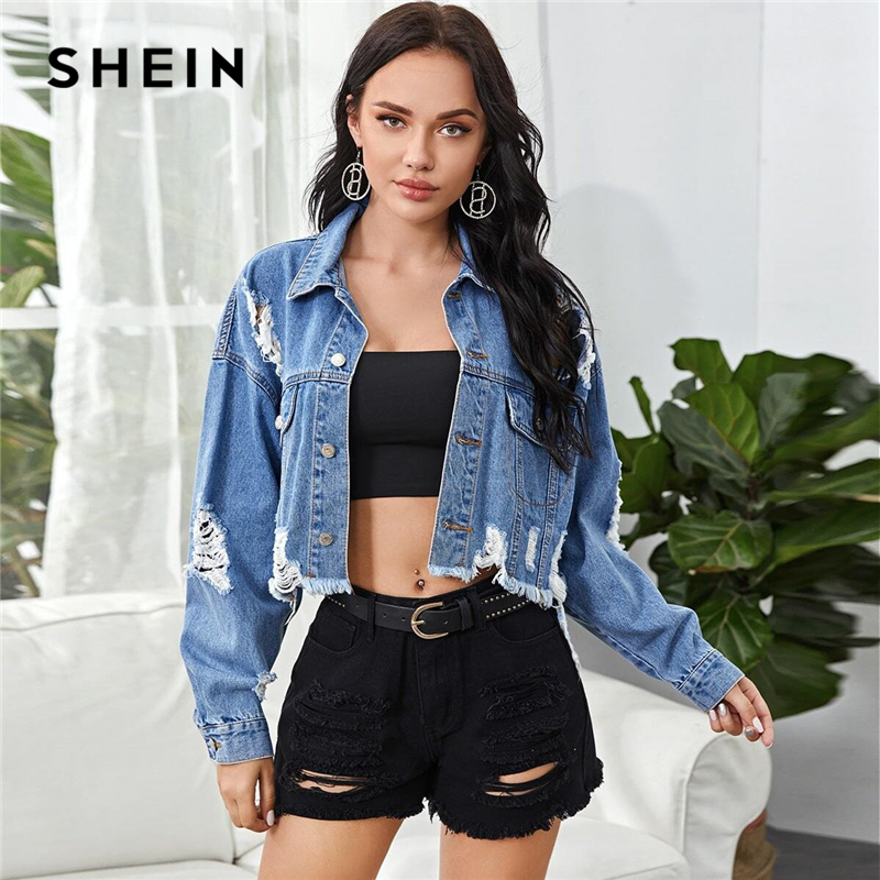 SHEIN Blue Ripped Flap Pocket Trucker Denim Jacket Crop Coat Women 2020 Autumn Dropped Shoulder Frayed Edge Casual Jackets|Jackets| - AliExpress