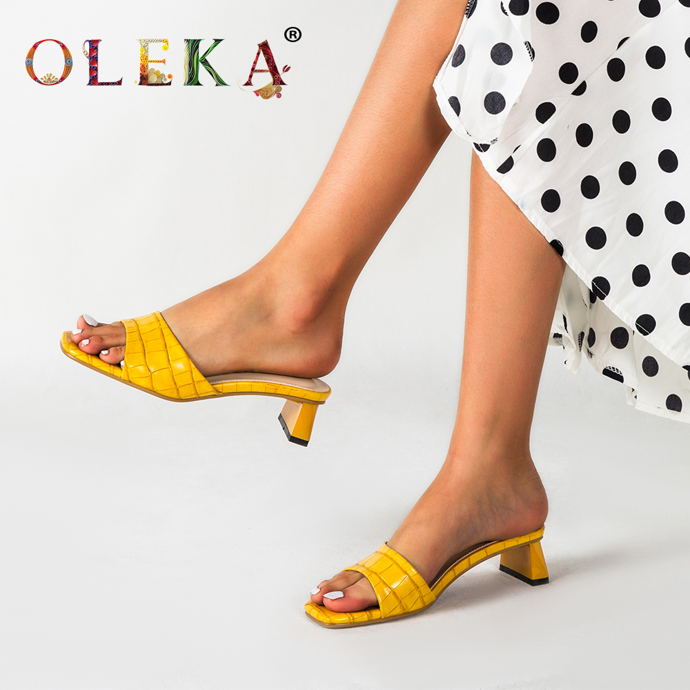 OLEKA New Summer 2020 Sandals Yellow Lady Slippers Geometric Pattern Sexy Fashion Style Banquet Outing Shoes AS87