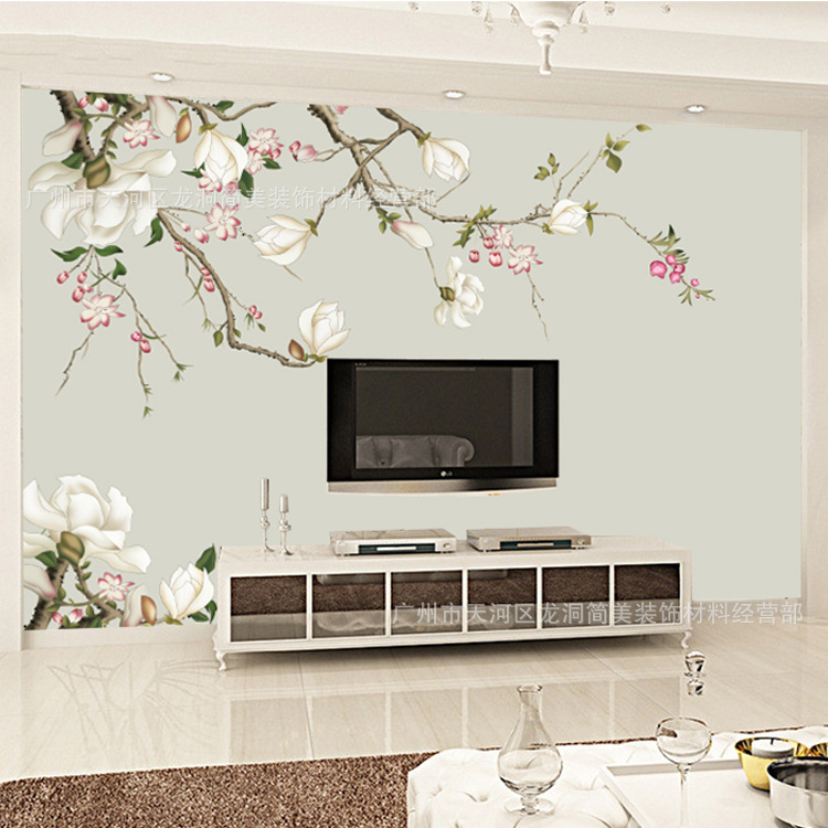 Chinese Style Wall Flowers And Birds Magnolia Flower Living Room Television Background Wall Seamless 3D Wallpaper Non-woven Wall