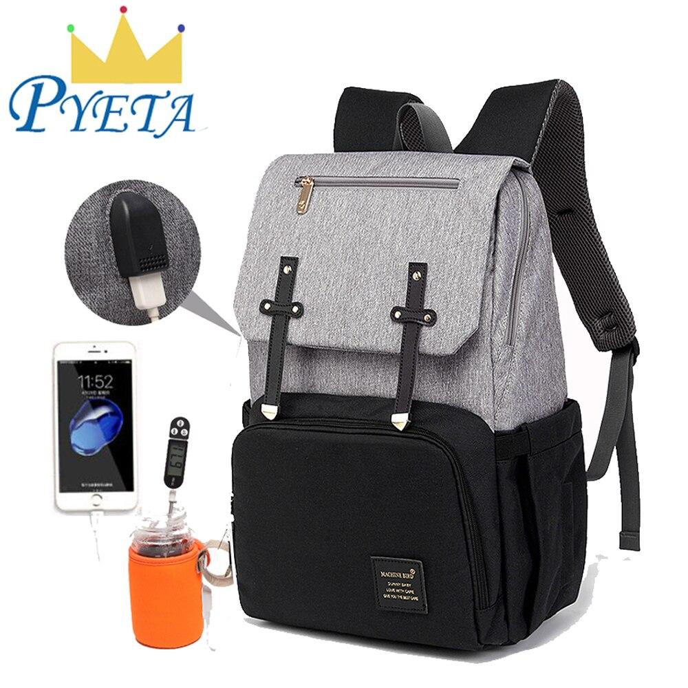 Enhanced Version Baby Diaper Bag USB Nappy Bag Mummy Backpack Travel Bakpack Waterproof Laptop Bag Rechargeable Bottle Holder