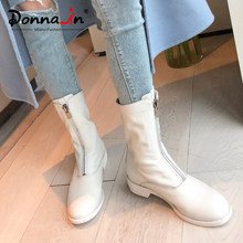 Donna-in Women Mid Calf Boots Genuine Leather 2019 Autumn Winter Female Front Zipper Boots Round Toe Med Heels Black White Botas(China)