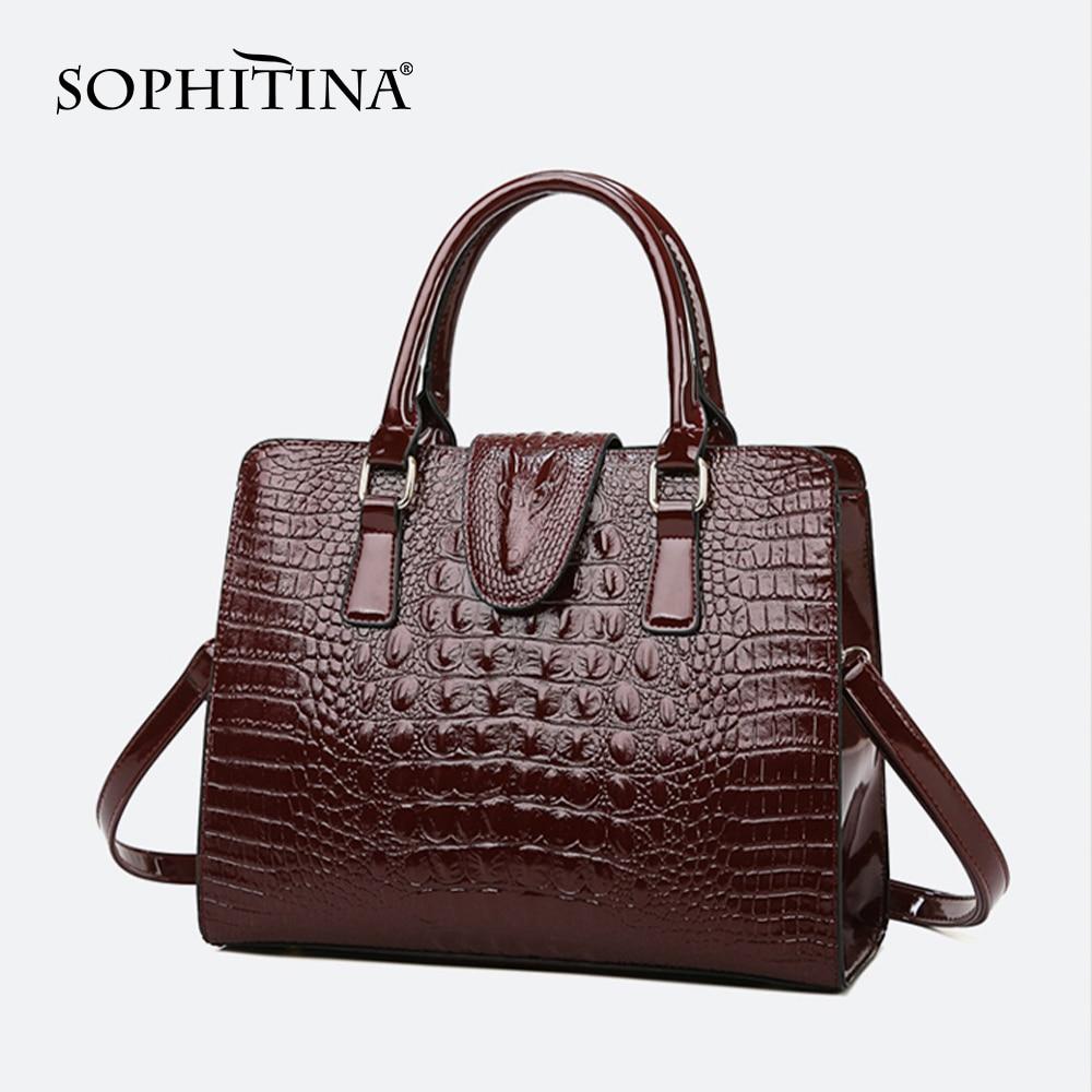 SOPHITINA Casual Women' S Messenger Bags Versatile High Quality Convenient Zipper Hasp Crocodile Print Bags Fashion Handbag E32