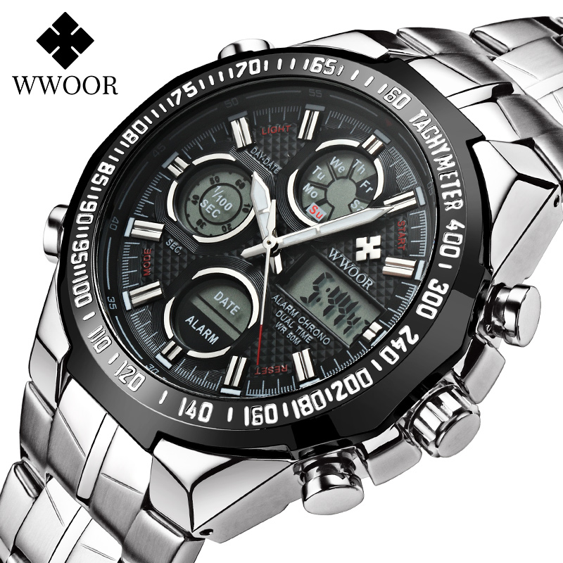Купить wwoor повседневные спортивные мужские светящиеся часы с хронографом