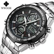 Wwoor повседневные спортивные мужские светящиеся часы с хронографом