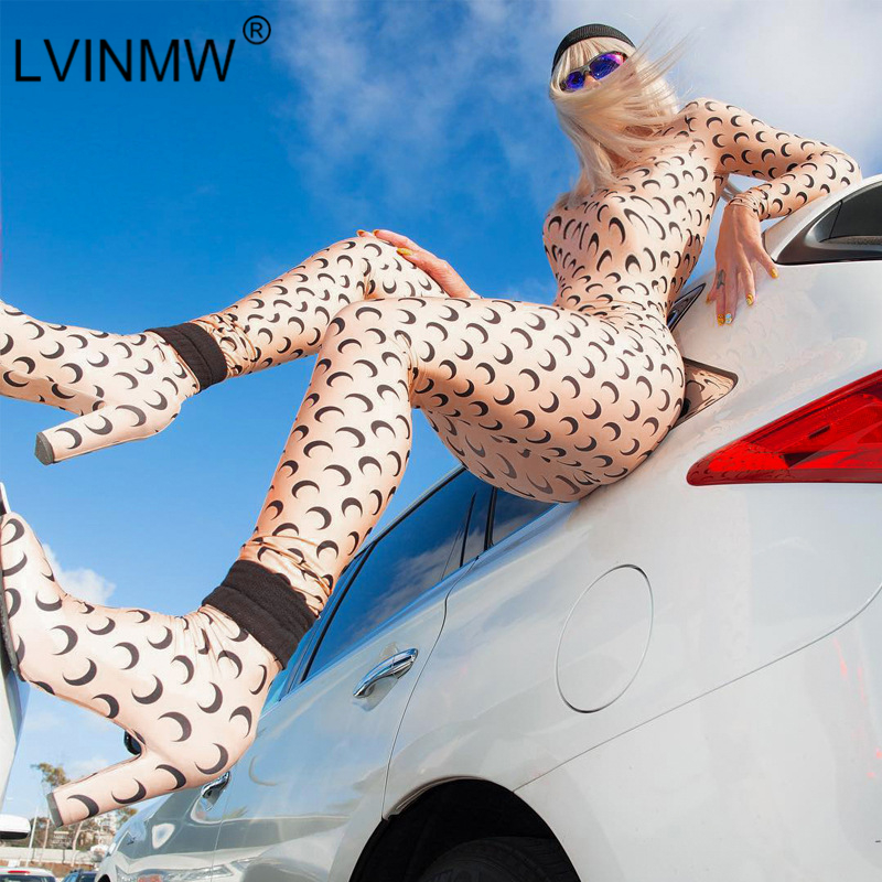 LVINMW Sexy Moon Print O Neck Long Sleeve Jumpsuit 2019 Autumn Women Back Zipper Skinny Romper Female Streetwear Body Outfits