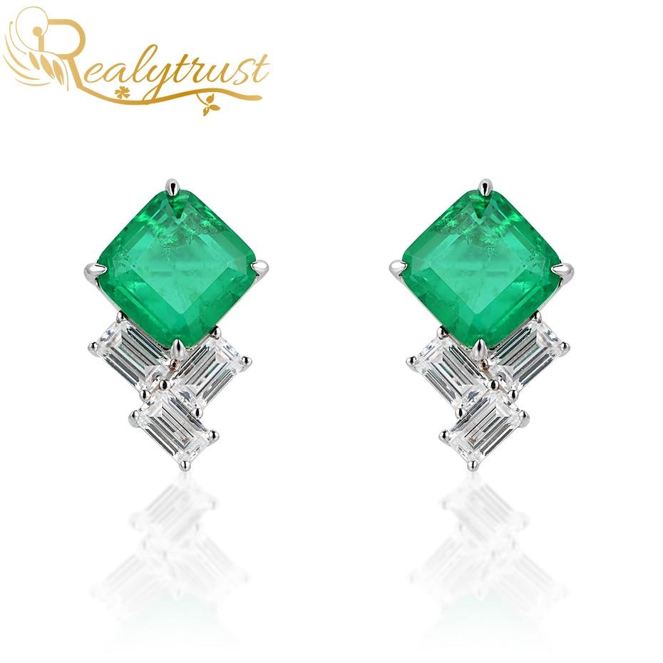 Realytrust moda 9*9mm praça colômbia esmeralda pedra preciosa brincos para mulheres sólido 925 brincos de prata esterlina casamento