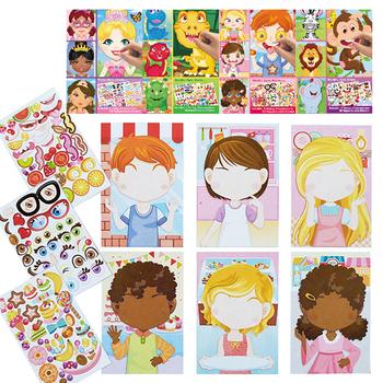 Dla dzieci naklejki DIY gry-układanki sprawiają że-twarzą w twarz księżniczka zwierząt dinozaur montażu układanki dla dzieci uznanie szkolenia edukacja zabawki tanie i dobre opinie CN (pochodzenie) 25cm 14cm 0 05 CH202030 1year princess animal friends dinosaur make a face and fun for kids 6 cardboards and 3 sheets sticker