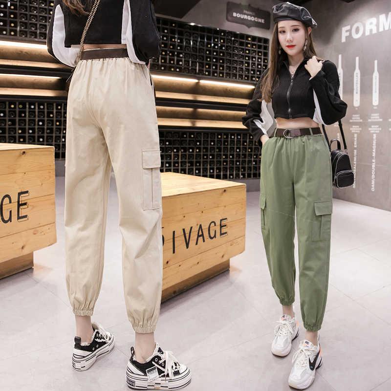 Pantalones Cargo De Cintura Alta Para Mujer Pantalon Bombacho Holgado Con Bolsillos Ropa De Calle Con Cinturon Primavera Y Verano 2020 Pantalones Y Pantalones Capri Aliexpress