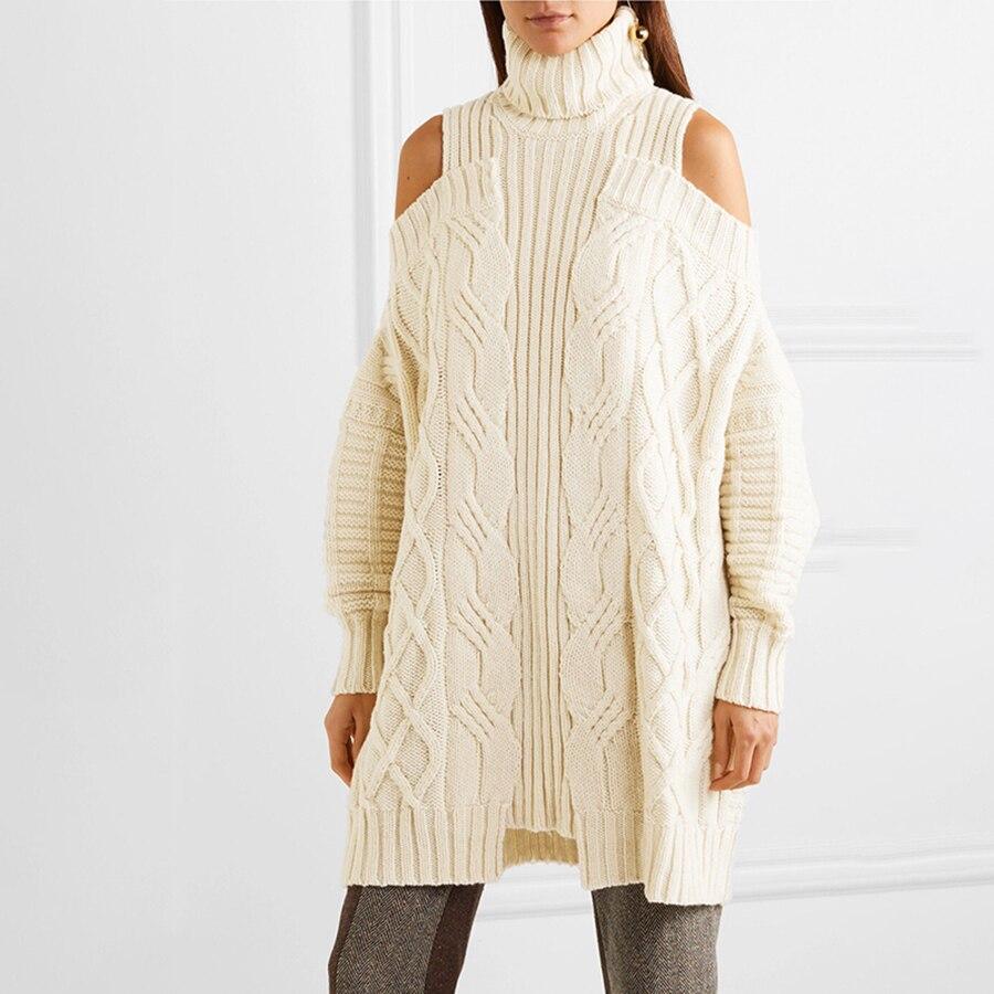 2019 automne hiver solide croisé lâche femmes robe pull col roulé épaule dénudée Sexy pull tricot pull robe