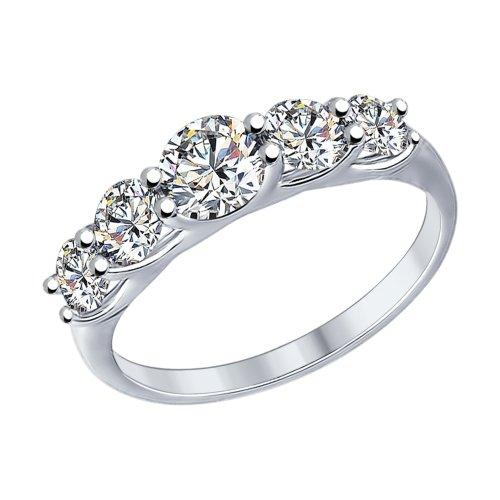 SOKOLOV Ring Of Silver With Swarovski Crystals Zirconia, Fashion Jewelry, 925, Women's Male