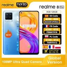 Em estoque versão global realme 8 pro smartphone 8gb 128gb 6.4 screen 108tela 108mp ultra quad câmera snapdragon 720g 4500mah 50w nfc