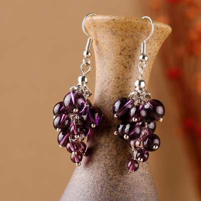 Original Design Purple Crystal Ethnic Earrings ,New Jewelry Dangle Earrings, Handmade Blood  Grape Style Vintage Earrings