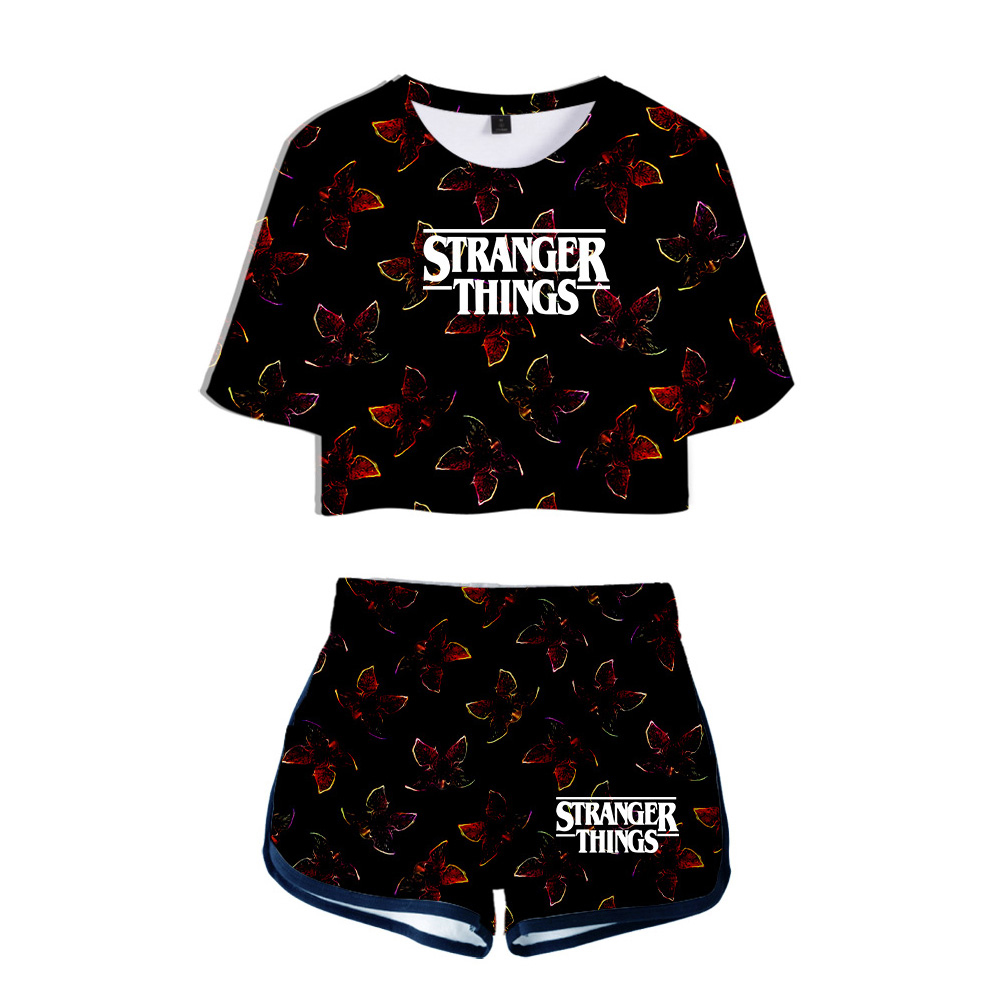 Hot sale TV series Stranger Things Season 3 summer Two Piece Set Women Sexy short Shorts+lovely T-shirt Leisure girl Sport suits