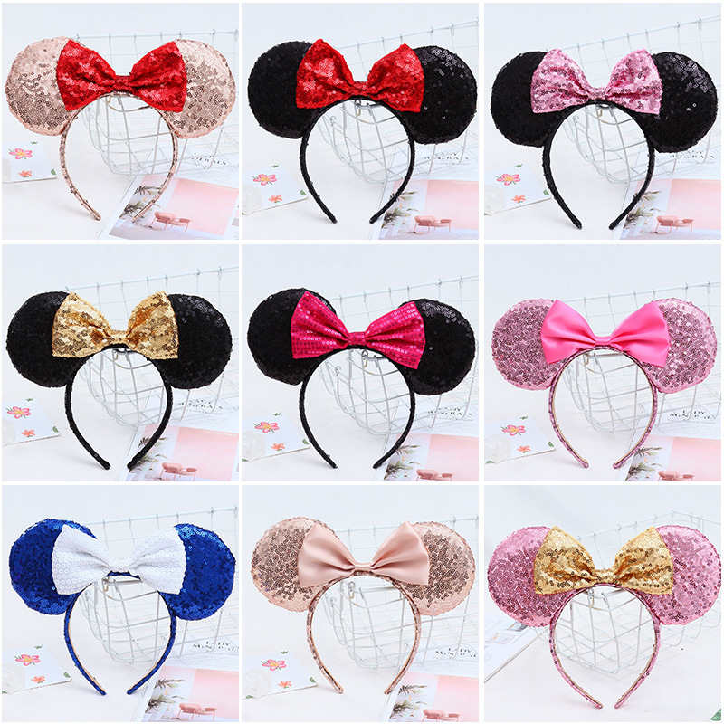 Minnie Mouse Ears Baby Hairbands Sequined Bow Kids Cosplay Party Hair Accessories