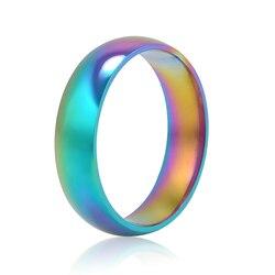 Mężczyźni kobiety Rainbow kolorowy pierścionek obrączka ze stali tytanu szerokość 6mm rozmiar 6-10 prezent