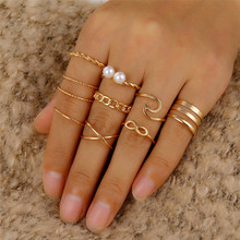 10 Pcs/Set Minimalist Round Cross Twist Wave Rings for Women Fashion Gold Geometric Pearl Finger Ring Set Bijoux Femme 2020 New