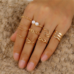 10 Pcs/Set Minimalist Round Cross Twist Wave Rings for Women Fashion Gold Geometric Pearl Finger Ring Set Bijoux Femme 2020 New