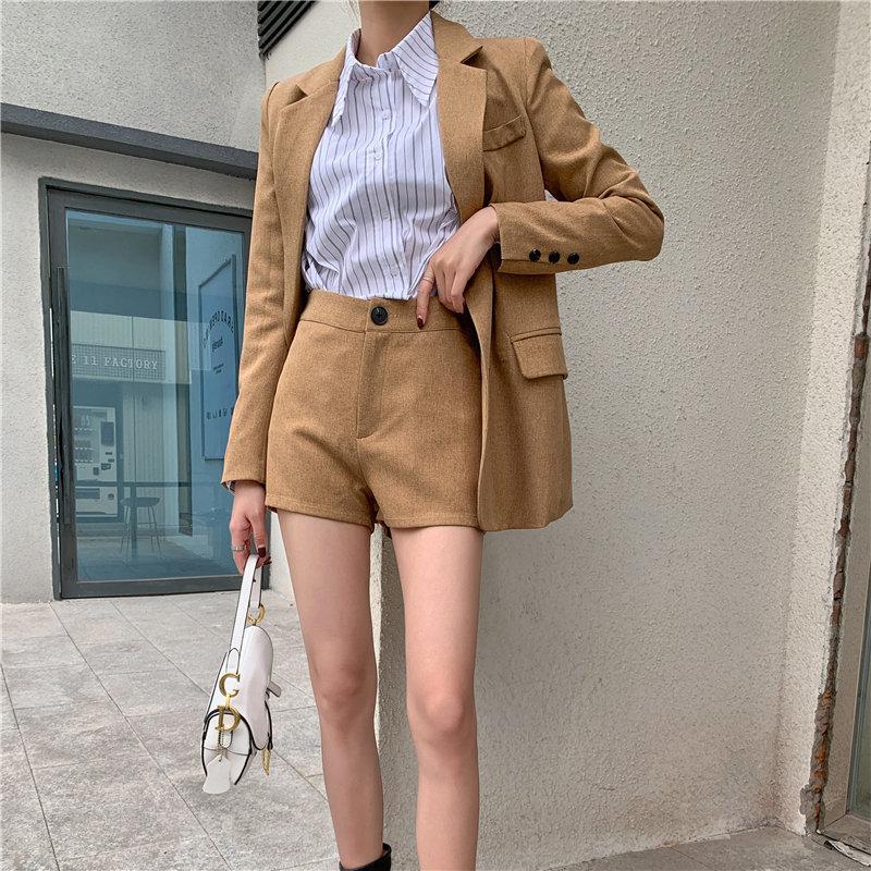 HziriP Autumn 2020 Chic Gentle Full-sleeved Solid OL Casual Elegance Blazers+Brief Wide Leg Shorts Suit Women Fresh 2 Piece Sets