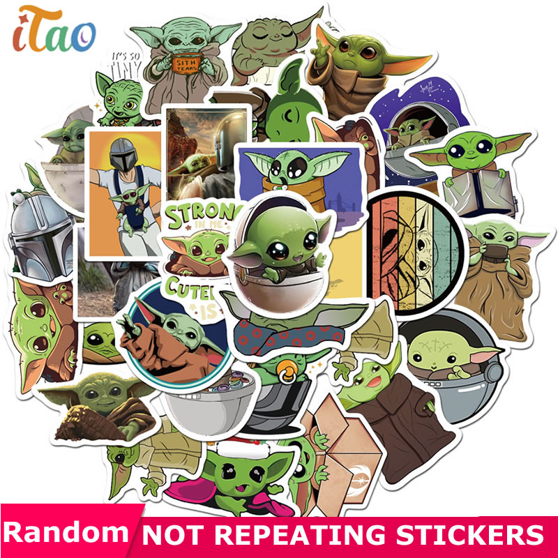 10/20/30/40/50pcs Cartoon The Mandalorian Baby Yoda Star Wars Stickers Waterproof PVC Skateboard Guitar Motorcycle Kids Sticker