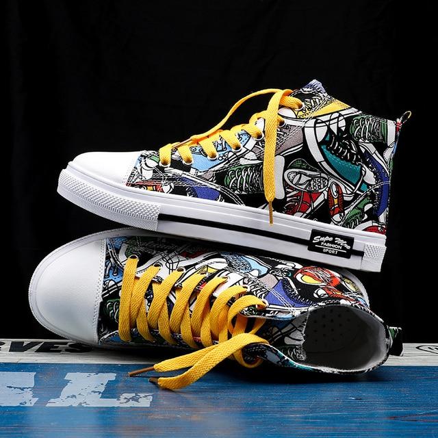 Zapatillas de deporte clásicas para hombre, zapatos de skateboard para parejas, transpirables, con cordones, informales, a la moda, con grafiti 3
