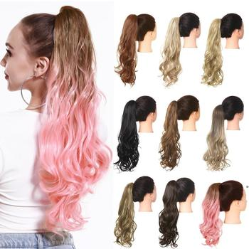 Ombre Pink Synthetic Wavy Wig Afro Long Clip