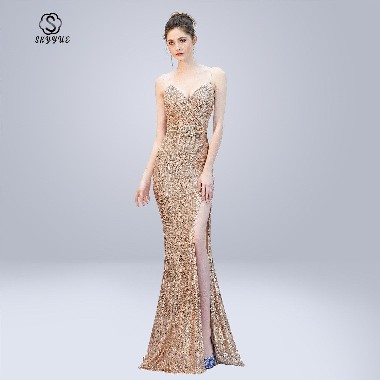 Skyyue Evening Dress Soild Sling V-neck Robe De Soiree Split Zipper Women Party Dresses 2019 Backless Sashes Formal Gowns C280