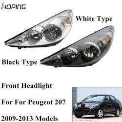 Надеясь, автоматический передний головной светильник, головной светильник для peugeot 207 2009 2010 2011 2012 2013 запасная фара белого типа черного типа 1 ...