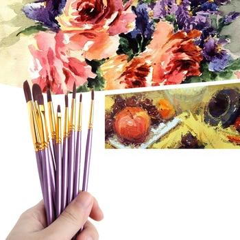 цена на 10Pcs Purple Artist Paint Brush Set Nylon Hair Watercolor Acrylic Oil Painting Brushes Drawing Art Supplie