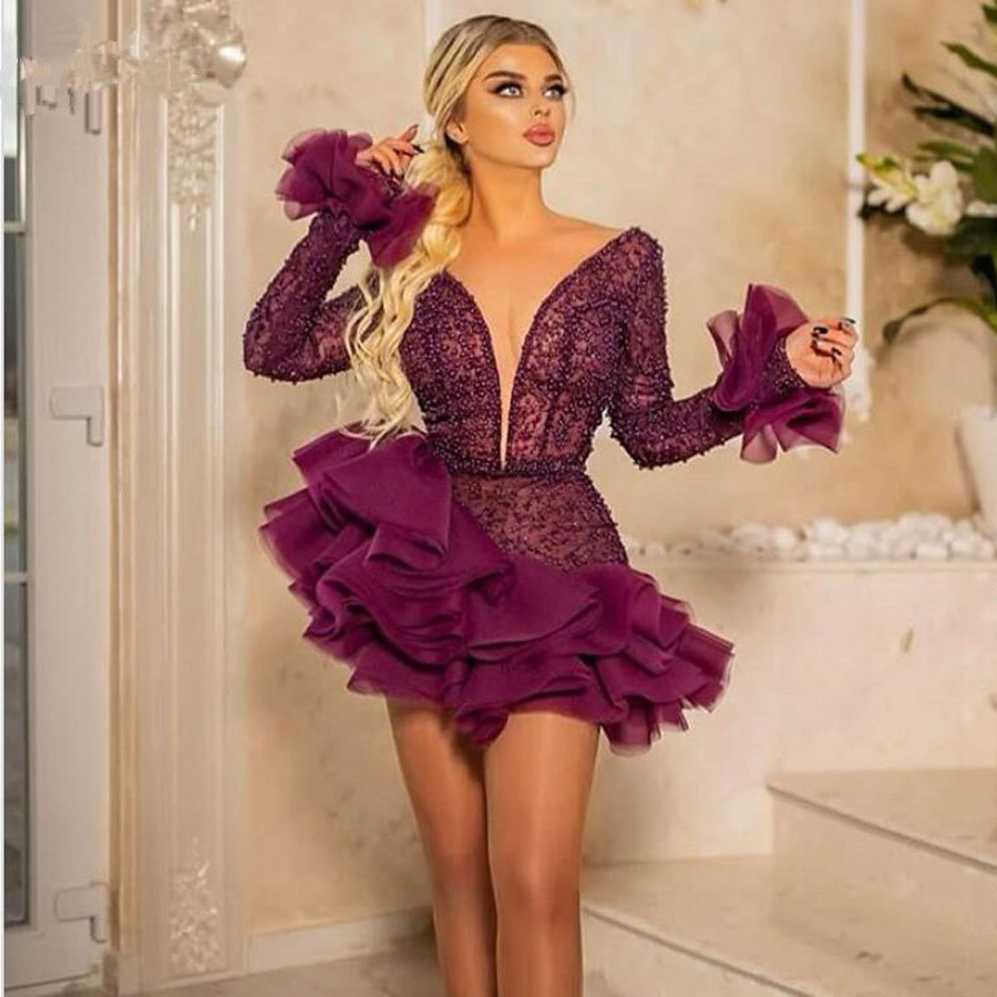 Luxury Burgundy Pearls Cocktail Dresses With Ruffles Mini Skirt Short Prom Gowns Long Sleeves Special Occasion Dress